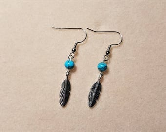 Antique Feather Dangle Earrings with Turquoise Dyed Howlite Bead, Gifts for Her, Gifts for Mom