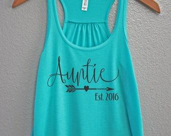 Auntie Established Tank, Auntie Est Tank Top, Auntie Tank, Auntie Gift, Pregnancy Announcement Tank, Auntie to be tank, Auntie shirt
