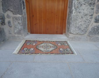 Door mat,bath room rug,entrance rug, Turkish hand made small rug,aztec rug,rustic decor,gift rug 35'' x 20'' entry way rug,outdoors rug !!!