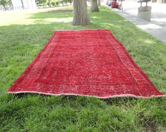 Red rug,Over-dyed Turkish red color area rug,red color rug,87 x 48 inches,low pile rug,distressed rug,hand woven Turkish rug,bohemian rug !!