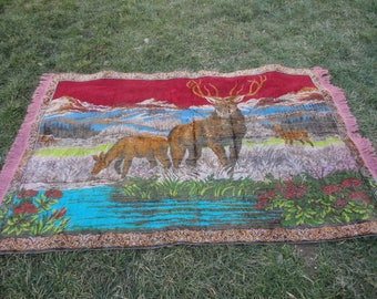 Wall hangings rug,Vintage Turkish wall hangings rug,tapestry,goblen,illustrated Deers are in the forest,animal designed rug,69'' x 42''