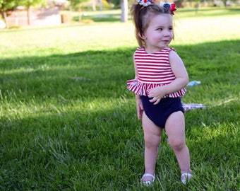 Red and white Striped peplum crop top