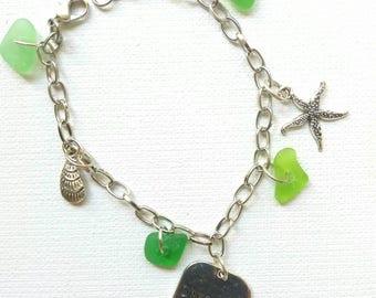 Sea Glass Bracelet Charm Bracelet Sea Glass Genuine Sea Glass Jewelry Beach Glass Jewelry Seaglass Bracelet Seaglass Jewelry