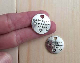 I love you to the moon and back charms 9pcs