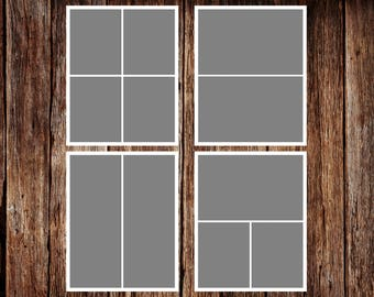 INSTANT DOWNLOAD - Storyboard Template, Photo Collage Template - 8 x 10 - Template Pack - No.1