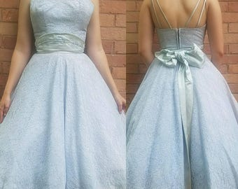 Vintage 1950s dress small medium blue lace fit-and-flare New Look Dior party dress women's clothing vow straps unique Mad Men Betty Draper
