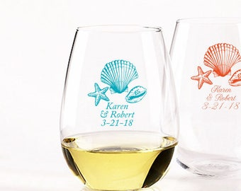 24pcs - Starfish Seashells - Stemless Wine Glasses 9oz - Personalized - Personalized Party Favors - DGI22-A58