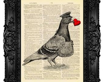 Christmas Gift for Her I CARRY YOUR HEART Love Birds Painting Bird Prints Bird Dorm Decor Pigeon Poster Home Wall Decor Romantic Art 501
