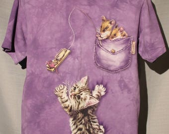 Vintage Kitten Cat & Mice Mouse Nature Wildlife The Mountain Tie Dyed Small T-Shirt !