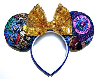 Beauty and the Beast Mouse Ears Inspired - Belle Mouse Ears - Beauty and the Beast Stained Glass Ears - Belle Minnie Mouse Ears Inspired
