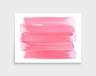 Pink Brush Stroke Art, Abstract Art Print, Framed Art, Abstract Wall Art, Abstract Watercolor Painting, Minimalist Art, Scandinavian Print
