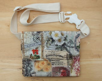 Chocolate Rose Belt Bag, Hip Purse, Bum Bag, Waist Bag, Money Belt, Flat Fanny Pack or Travel Wallet with Long Belt