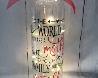 Beautiful light up wine bottle with 'Our Home' quote