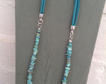 A beautiful long, natural,genuine turquoise necklace.