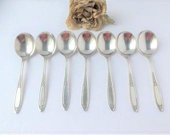Set of 7 Roges Silver Soup Spoons / Silverware Soup Spoons / Silver Spoons / Silverware Set / Soup Spoons / Vintage Silverware