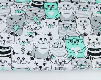 Tissu  100% coton imprimé 50x160 cm, cats - black , white , black color , natural cotton, baby bedding fabric, quilting-0,5 / meter