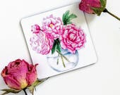 Pink Peony Magnet, 2 x 2 Inch Refrigerator Magnet, Roses in a Vase Watercolor Art, Nature Art Magnet, Pink Flowers, Stocking Stuffer, Gift