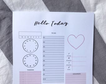 Day planner block A4 / / daily planner pad / / to-do list / / calendar/Organizer / / productivity / / objectives and dates / / desk pad / / thoughts