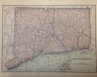 1915 Connecticut Map - Beautiful Old Map of Connecticut - Small Antique Map - Vintage Atlas Map - 5x7