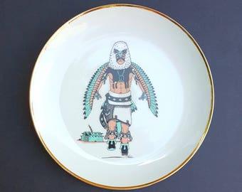 Powwow Dancer Native American Plate Gold Rim Kachina