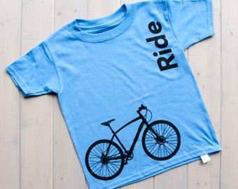 Kids Bike Shirt, Ride Kid's T-Shirt, Biking Kids Shirt, Kids Fashion, Bicycle Design Shirts, Bike Shirt