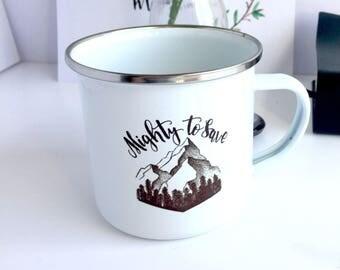 Christian Enamel Mug, Camping Mug, Travel Mug, Outdoor Adventure Mug, Festival Mug, Christian Gifts