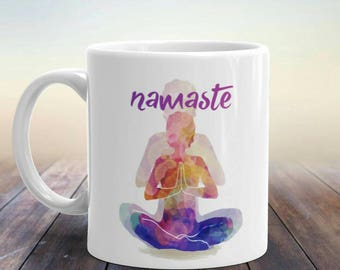 Namaste, Namaste Mug, Unique Yoga Gifts, Yoga Teacher, Yoga Mugs, Yoga Gifts For Women, Yoga Lover Gift, Gift For Yogi, Yoga Mug, Peaceful