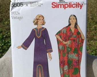 Simplicity Sewing Pattern 8505 - Misses Vintage Caftan Robes - 1970'S Caftan - Ladies Muumuu - Sizes S - L