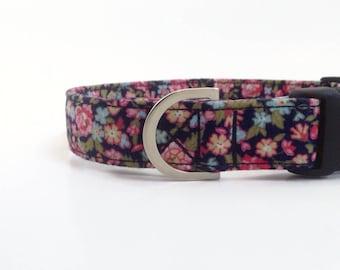 Navy Floral Dog Collar   Chintz Dog Collar   Girl Dog Collar   Dog Collar   Floral Dog Collar   Small Dog Collar   Dog Lead and collar