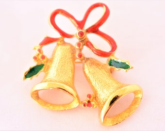 Vintage Enamel Christmas Bells Brooch Mistletoe Coat Sweater Scarf Pin Retro Holiday Jewelry 1.5""