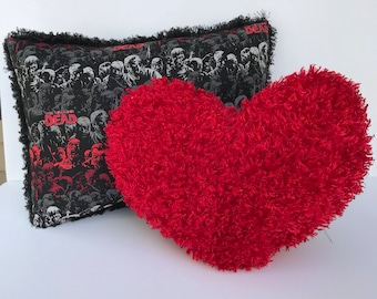 "12x16"" Zombie pillow and heart for the Walking Dead fan"
