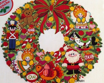 Christmas Wreath Fantasy Sunset Stitchery Crewel Embroidery Kit Vtg 1979