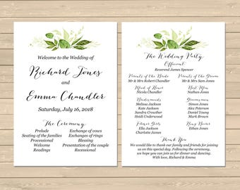 Greenery Wedding Program, Printable Modern Botanical Wedding Program, Foliage Order of Service, Leaves Order of the Ceremony Download 126-W