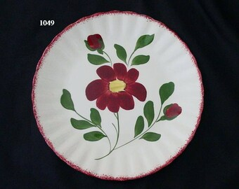 "Blue Ridge RED NOCTURNE 9.25"" Plate Southern Potteries Hand Painted Colonial Red Flowers and Edge (B02) 1049"