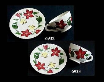 Blue Ridge Cup and Saucer JOANNA (Buy 1 or 2 Sets) Hand Painted Colonial Dinnerware Jonquil Star Flower Daffodil (B03) 6932 6933