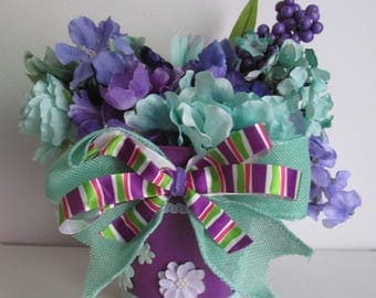 Purple and Teal Themed Silk Flower Arrangement, featuring a Handmade Bow and Fabric Trim & Flowers