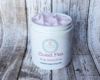 Body Butter in Sweet Pea Scent, 4 or 8 oz Body Butter, Heavy Body Lotion, Heavy Body Cream, Thick Lotion, Skincare