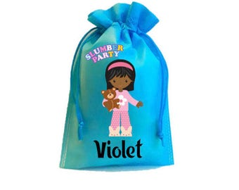 """Slumber Party,10 Personalized Favor Bags Slumber Party, Pajama Party, Drawstring Bags 6 x 8"""" inches"""