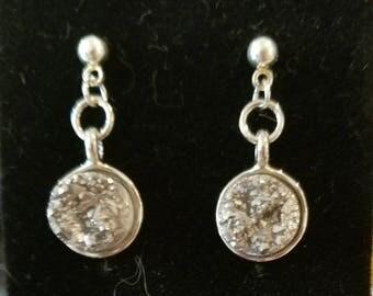 Silver on silver post earrings