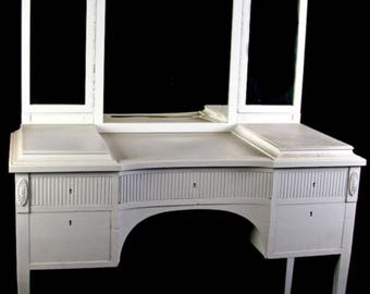 Rare Antique Swedish 3 Mirror Gustavian Dressing Table with fluted legs