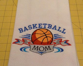 Basketball Mom and Basketball Dad Embroidered Williams Sonoma All Purpose Kitchen Hand Towels, Cotton Terry & Extra Large