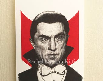 Dracula, Bela Lugosi, Vintage, Original Art, Old Hollywood, Vampire