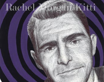 The Twilight Zone, Rod Serling, portrait, art print, print, science fiction, purple,
