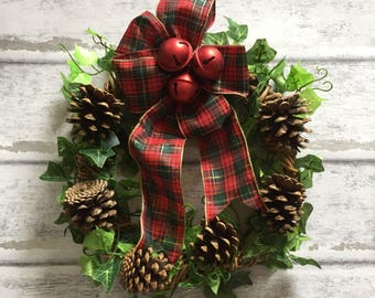 Christmas pinecone wreath, pinecone Christmas decor, Christmas bells and tartan ribbon accent, made to order