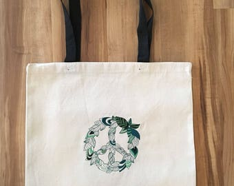 Machine Embroidered Tote - Leafy Peace