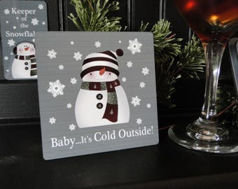 Snowman Coaster, Snowman Coaster Set, Aluminum Tile, Drink Coasters, Wedding Gift, Shower Gift, Housewarming Gift, Anniversary Gift