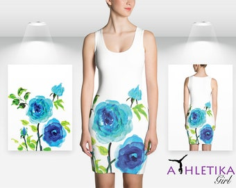 Summer Dress For Woman Watercolor Floral Bodycon Mini Flowers Print Blue White Romantic Pretty Girl Pretty Fitted Short Sleeveless Rose