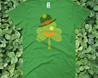 Shamrock Face Fun & Festive St. Patrick's Day Women's T-shirt | Shamrock with Red Mustache and hat T-shirt for St. Patrick's Day Celebration