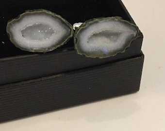 Ice Follies.    Raw Geode cufflinks, made for the man who cares about his looks, Gift boxed and ready to give to your best guy