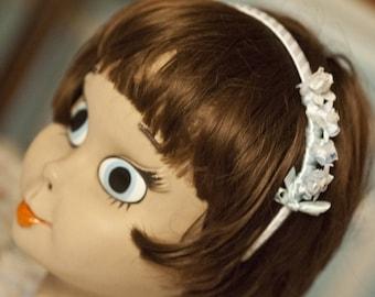 White iridescent flower headband